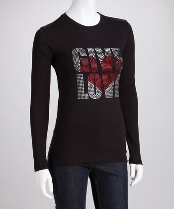 Black Rhinestone 'Give Love' Long-Sleeve Tee - Women