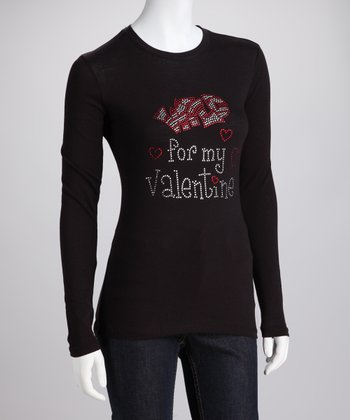 Black Rhinestone 'Wild For My Valentine' Long-Sleeve Tee - Women