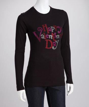 Black Rhinestone 'Happy Valentine's Day' Long-Sleeve Tee - Women