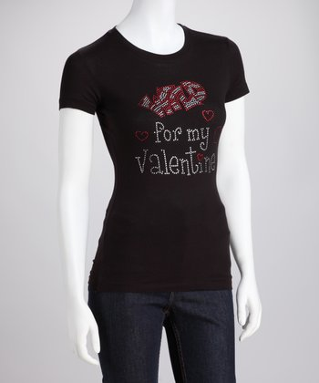 Black Rhinestone 'Wild For My Valentine' Tee - Women