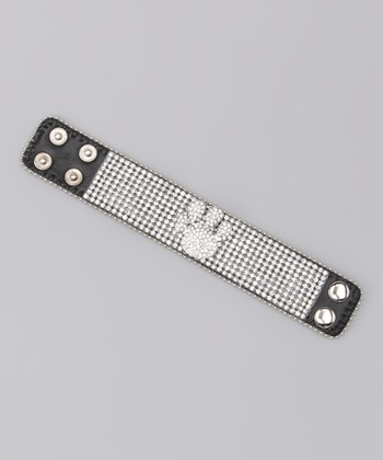 Clear Paw Rhinestone Leather Bracelet
