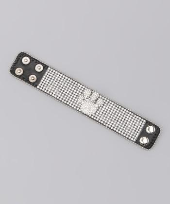 Clear Paw Rhinestone Leather Bracelet