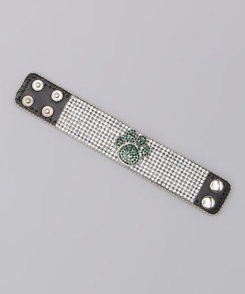 Green Paw Rhinestone Leather Bracelet