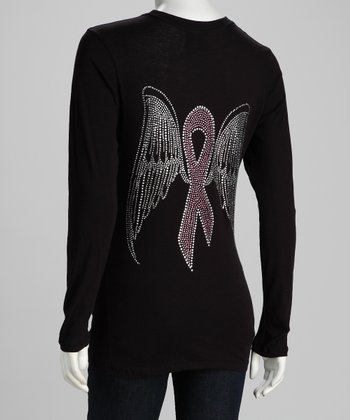 Black Pink Ribbon Wings Long-Sleeve Tee - Women