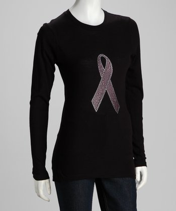 Black Pink Ribbon Long-Sleeve Tee - Women
