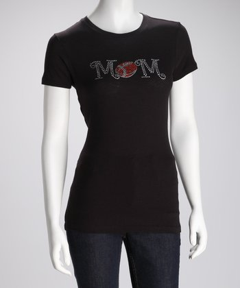 Black & Crystal Football Mom Tee
