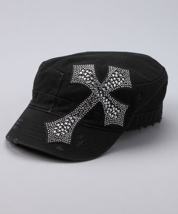 Black Rhinestone Cross Cadet Cap