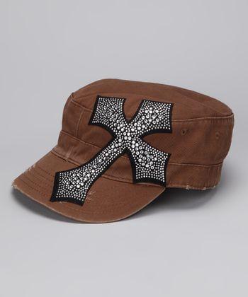 Brown Rhinestone Cross Cadet Cap