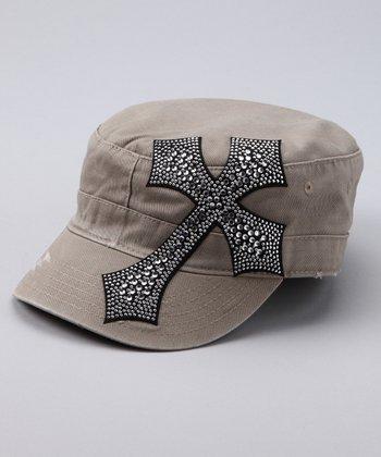 Khaki Rhinestone Cross Cadet Cap
