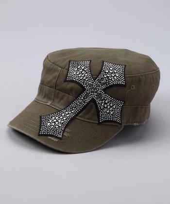 Olive Rhinestone Cross Cadet Cap