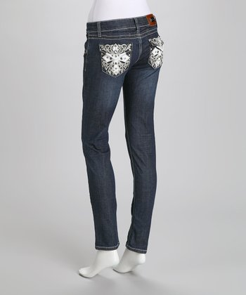 Denim Embellished Cross Bootcut Jeans