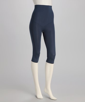 Navy High-Waisted Shaper Capri Leggings - Women & Plus