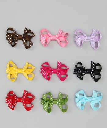 Polka Dot Small Bow Clip Set