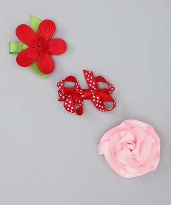 Pink & Red Flower Chloe Clip Set