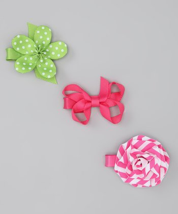 Pink & Green Flower Maya Clip Set
