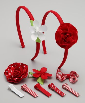 Red & White Flower Clip & Headband Set
