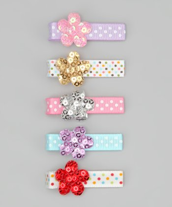 Ribbies Clippies Pink & Purple Polka Dot Flower Clip Set