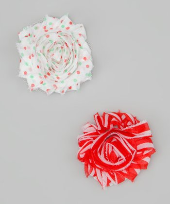 Ribbies Clippies Red & White Flower Clip Set