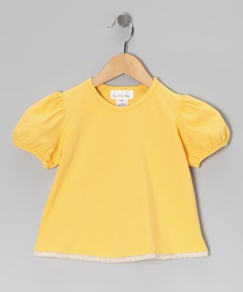 Yellow Puff-Sleeve Tee - Infant & Girls