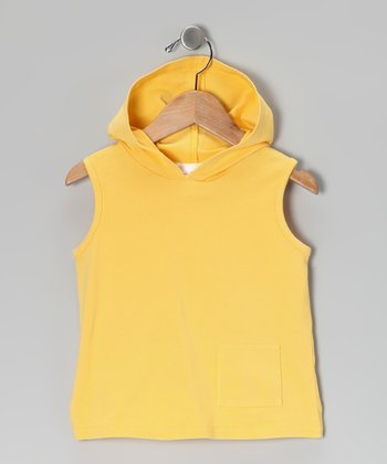 Yellow Sleeveless Hoodie - Infant & Toddler