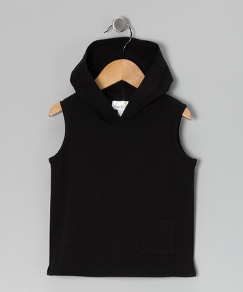 Black Sleeveless Hoodie - Infant & Toddler
