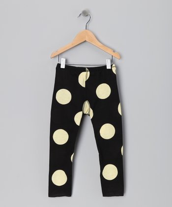 Black Polka Dot Leggings - Girls