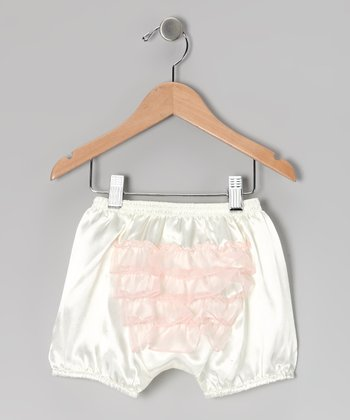 White & Light Pink Ruffle Bloomers - Toddler