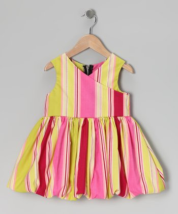 Green & Pink Stripe Bubble Dress - Infant & Toddler