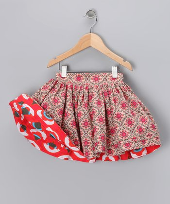 Pink & Red Reversible Swing Skirt - Infant & Girls