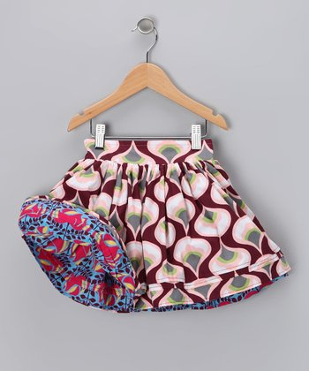 Blue & Maroon Reversible Swing Skirt - Infant