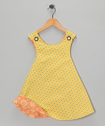 Yellow & Melon Reversible Dress - Toddler & Girls