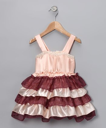 Peach & Brown Ruffle Dress - Infant, Toddler & Girls