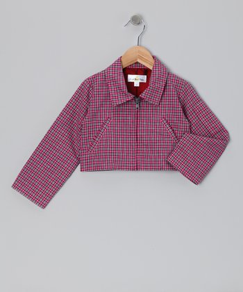 Fuchsia Plaid Crop Jacket - Infant, Toddler & Girls