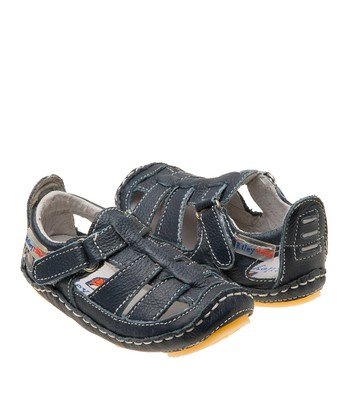 Navy Chessie Leather Closed-Toe Sandal