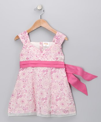 Pink Prairie Bow Surplice Dress - Toddler