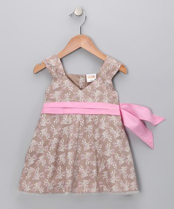 Coffee Bow Surplice Dress - Toddler