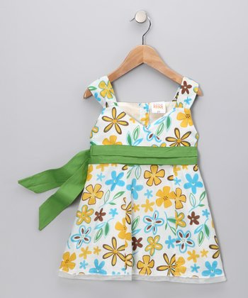 White & Green Daisy Bow Surplice Dress - Toddler
