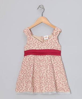 Red Daisy Bow Surplice Dress - Toddler