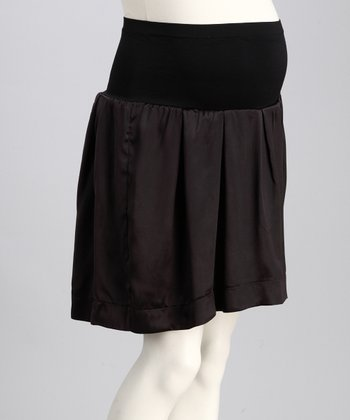 Black Silk Mid-Belly Maternity Skirt