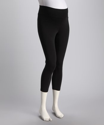 Black Luxury Mid-Belly Maternity Leggings