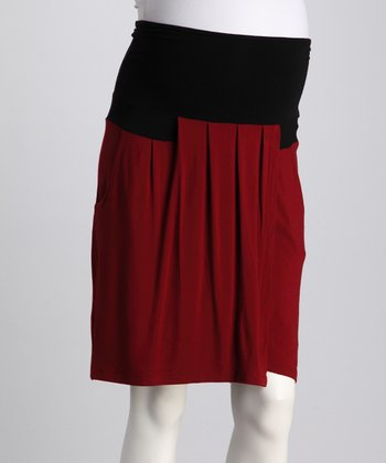 Brick Pleated Mid-Belly Maternity Skirt