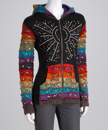 Rainbow & Black Sun Zip-Up Hoodie - Women