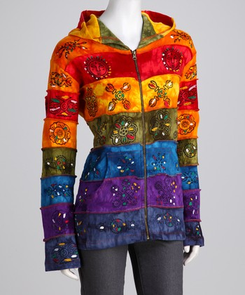 Rainbow Stripe Painted Zip-Up Hoodie - Women