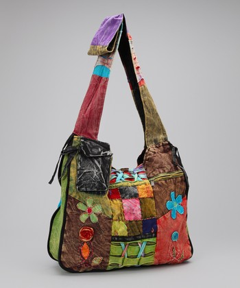 Blue Flower Patchwork Pocket Tote