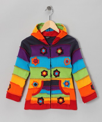 Rainbow Firecracker Zip-Up Hoodie - Toddler & Girls