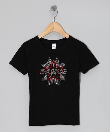Black & Red 'Dance' Star Tee - Girls