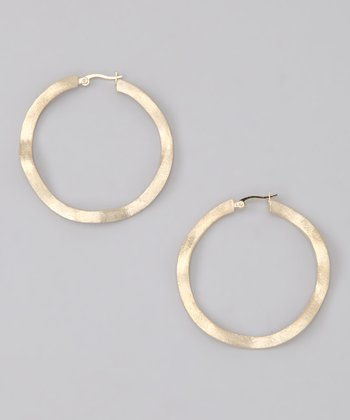 Gold Satin Wavy Large Hoop Earrings