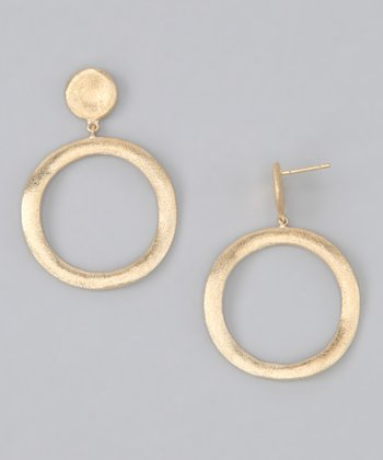 Gold Satin Organic Circle Drop Earrings