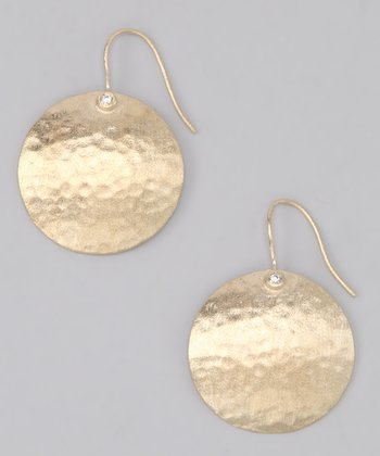 Gold Satin Hammered Round Drop Earrings