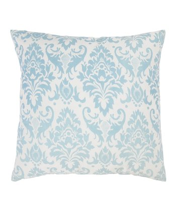 Aqua & Off-White Transitional Throw Pillow